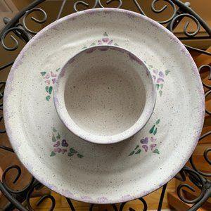 Stoneware Pottery Chip & Dip Dish w/Purple Hearts